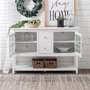 Walker Edison Console Table and TV Cabinet - 52-in x 16-in x 35-in - White