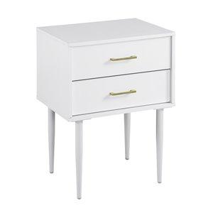 Walker Edison Mid-Century Modern Nightstand - 2 Drawers - 20-in x 26-in - White