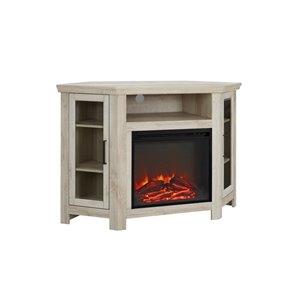Walker Edison Casual Fireplace TV Stand - 48-in x 32-in - White Oak