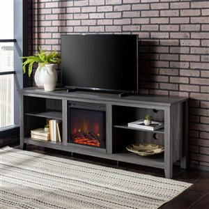 Walker Edison Farmhouse Fireplace TV Stand - 70-in x 24-in - Charcoal
