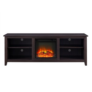 Walker Edison Farmhouse Fireplace TV Stand - 70-in x 24-in - Espresso