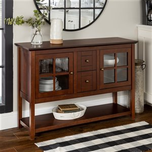 Walker Edison Console Table and TV Cabinet - 52-in x 16-in x 35-in - Walnut