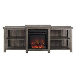 Walker Edison Farmhouse Fireplace TV Stand - 70-in x 26.25-in - Slate Grey
