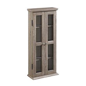 Walker Edison Media Storage Tower Cabinet -  41-in x 18-in - Grey