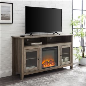 Walker Edison Farmhouse Fireplace TV Stand - 58-in x 32-in - Grey Wash