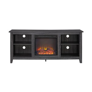 Walker Edison Farmhouse Fireplace TV Stand - 58-in x 25-in - Charcoal
