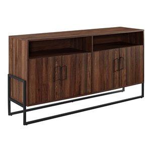 Walker Edison Farmhouse TV Cabinet - 58-in x 31-in - Dark Walnut
