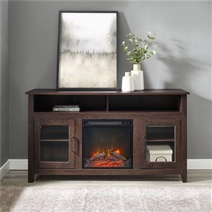Walker Edison Farmhouse Fireplace TV Stand - 58-in x 32-in - Traditional Brown