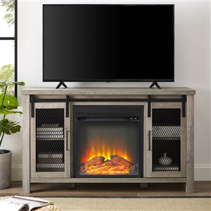 Walker Edison Farmhouse Fireplace TV Stand - 48-in x 28-in - Grey