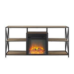 Walker Edison Industrial Fireplace TV Stand - 60-in x 26-in - Rustic Oak