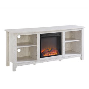 Walker Edison Farmhouse Fireplace TV Stand - 58-in x 25-in - White