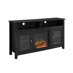 Walker Edison Farmhouse Fireplace TV Stand - 58-in x 32-in - Black