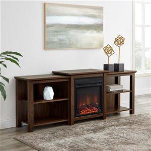 Walker Edison Farmhouse Fireplace TV Stand - 70-in x 26.25-in - Dark Walnut