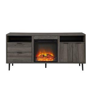 Walker Edison Modern Fireplace TV Stand - 60-in x 27.75-in - Slate Grey