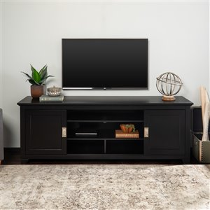 Walker Edison Casual TV Cabinet - 70-in x 25-in - Black