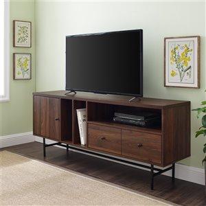 Walker Edison Modern TV Cabinet - 60-in x 25-in - Dark Walnut