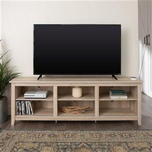Walker Edison Farmhouse TV Cabinet with Open Storage - 70-in x 24-in - White Oak