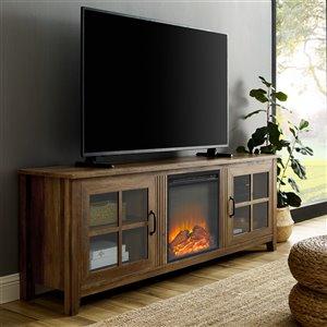 Walker Edison Farmhouse Fireplace TV Stand - 70-in x 24-in - Rustic Oak