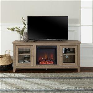 Walker Edison Farmhouse Fireplace TV Stand - 58-in x 24-in - Grey