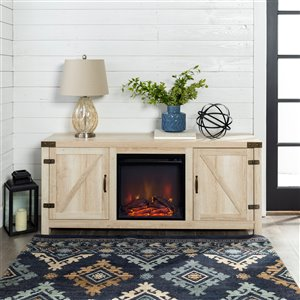 Walker Edison Farmhouse Fireplace TV Stand - 58-in x 25-in - White Oak