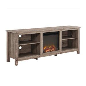 Walker Edison Farmhouse Fireplace TV Stand - 70-in x 24-in - Grey