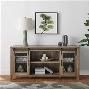 Walker Edison Industrial TV Cabinet - 58-in x 28-in - Rustic Oak