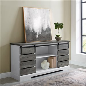 Walker Edison Farmhouse TV Cabinet - 58-in - Grey