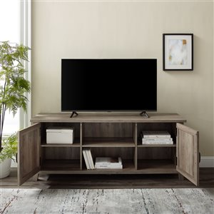 Walker Edison Farmhouse TV Cabinet with 2 Doors - 58-in - Grey