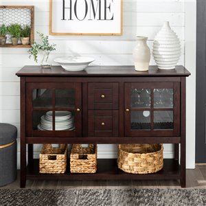 Walker Edison Console Table and TV Cabinet - 52-in x 16-in x 35-in - Espresso