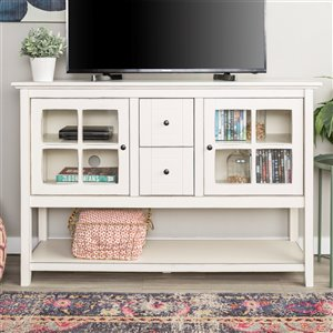 Walker Edison Console Table and TV Cabinet - 52-in x 16-in x 35-in - Antique White