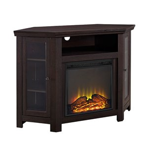 Walker Edison Casual Fireplace TV Stand - 48-in x 32-in - Traditional Brown