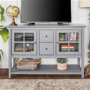 Walker Edison Console Table and TV Cabinet - 52-in x 16-in x 35-in - Antique Grey