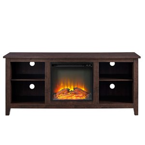 Walker Edison Farmhouse Fireplace TV Stand - 58-in x 25-in - Brown