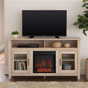 Walker Edison Farmhouse Fireplace TV Stand - 58-in x 32-in - White Oak
