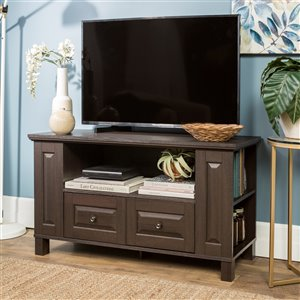 Walker Edison Country TV Cabinet with Storage - 44-in x 23-in - Espresso