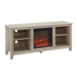 Walker Edison Farmhouse Fireplace TV Stand - 70-in x 24-in - White Oak