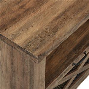 Walker Edison Farmhouse Fireplace TV Stand - 70-in x 25-in - Rustic Oak