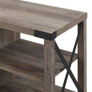 Walker Edison Industrial Fireplace TV Stand - 60-in x 25-in - Grey