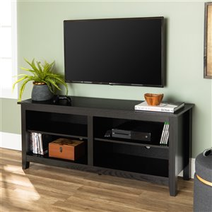 Walker Edison Casual TV Cabinet with Open Storage - 58-in x 24-in - Black