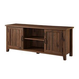 Walker Edison Farmhouse TV Cabinet - 58-in x 24-in - Dark Walnut