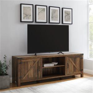 Walker Edison Farmhouse TV Cabinet with 2 Doors - 70-in x 24-in - Rustic Oak