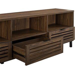 Walker Edison Modern TV Cabinet with Storage - 70-in x 24-in - Dark Walnut