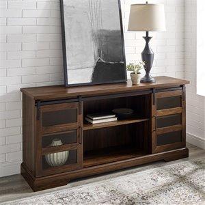 Walker Edison Farmhouse TV Cabinet with Integrated Storage - 58-in x 28-in - Dark Walnut