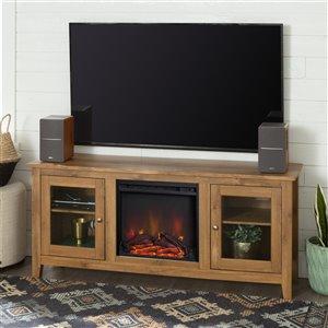 Walker Edison Farmhouse Fireplace TV Stand - 58-in x 24-in - Barnwood