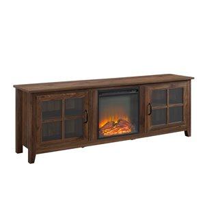 Walker Edison Farmhouse Fireplace TV Stand - 70-in x 24-in - Dark Walnut