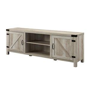 Walker Edison Farmhouse TV Cabinet with 2 Doors - 70-in x 24-in - White Oak