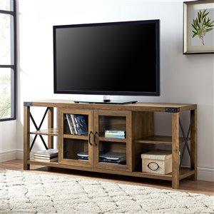 Walker Edison Farmhouse TV Cabinet - 60-in x 25-in - Reclaimed Barnwood