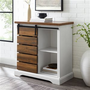 Walker Edison Farmhouse TV Cabinet - 32-in x 32-in - White/Rustic Oak