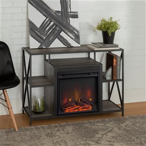 Walker Edison Rustic Fireplace TV Stand - 40-in x 26-in - Grey