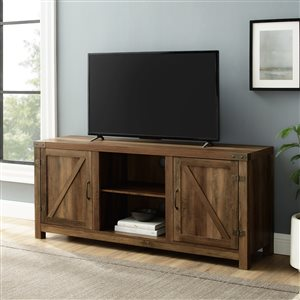 Walker Edison Farmhouse TV Cabinet - 58-in x 24-in - Rustic Oak
